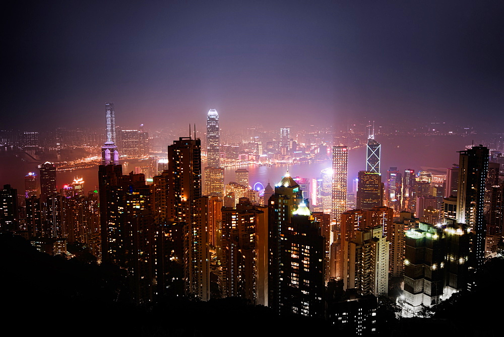 Skyscrapers of Wan Chai at night, Hong Kong, China, Asia