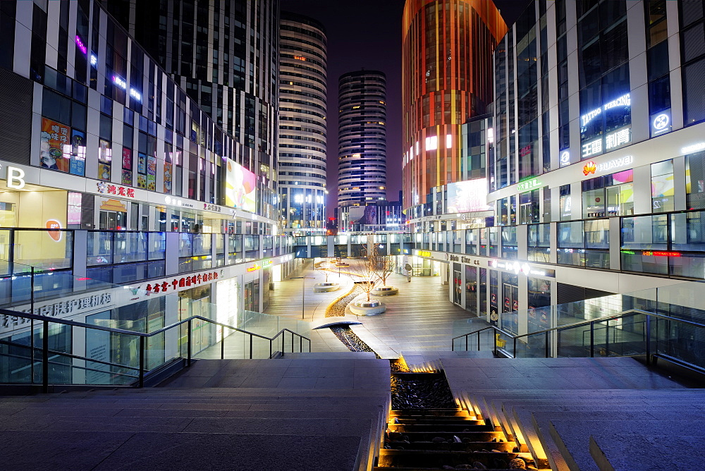 Sanlitun SOHO at night, Beijing, China, Asia