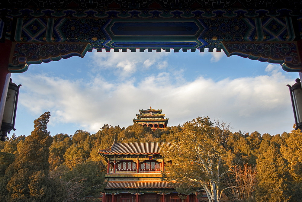 Pagodas and Jingshan Hill, Beijing, China, Asia