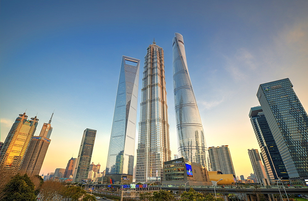 Skyscrapers of Lujiazui, Shanghai World Financial Center, Jin Mao Tower and Shanghai Tower, Shanghai, China, Asia - 1171-248