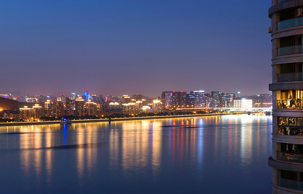 Beautifully illuminated high rises on Qiantang River in Hangzhou, Zhejiang province, China, Asia - 1171-266