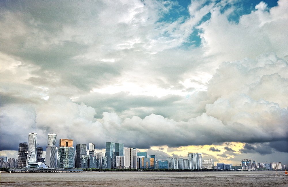 Typhoon clouds over new skyline of Hangzhou city, Hangzhou, Zhejiang, China, Asia