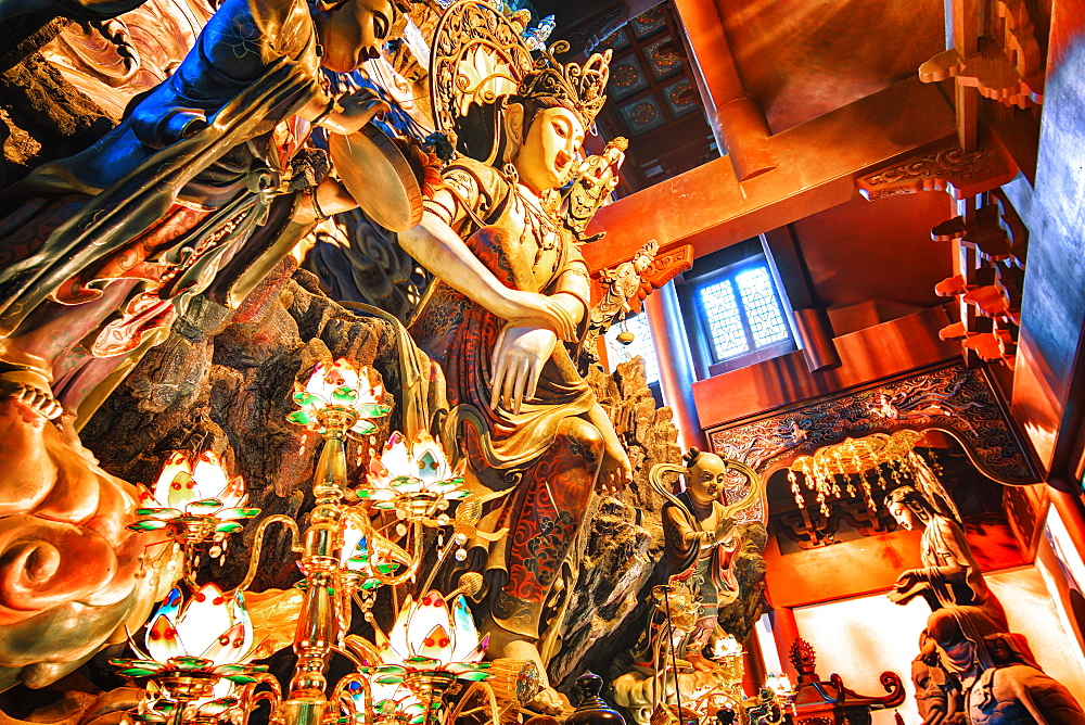 GuanYin Buddha at Yong Fu Temple with rich decorations in a wide angle perspective, Hangzhou, Zhejiang, China, Asia