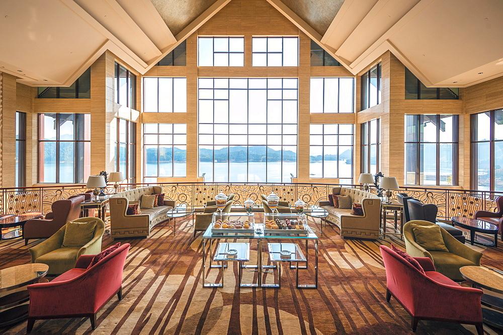 Lobby of Hilton Hangzhou Qiandao Lake Resort, Chun An, China, Asia