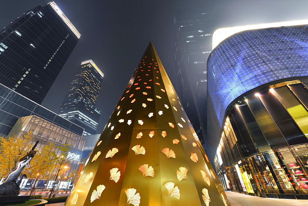 Inner city of Shanghai at Christmas time with colourful modern decorations and illuminations, Shanghai, China, Asia