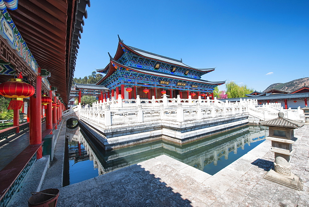 Wide angle image of one of the colorful main buildings at Mufu complex in Lijiang, Yunnan, China, Asia