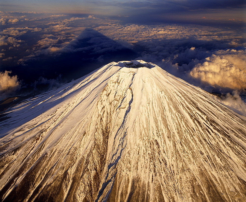 Aerial View of Snow Capped Mount Fuji, Japan