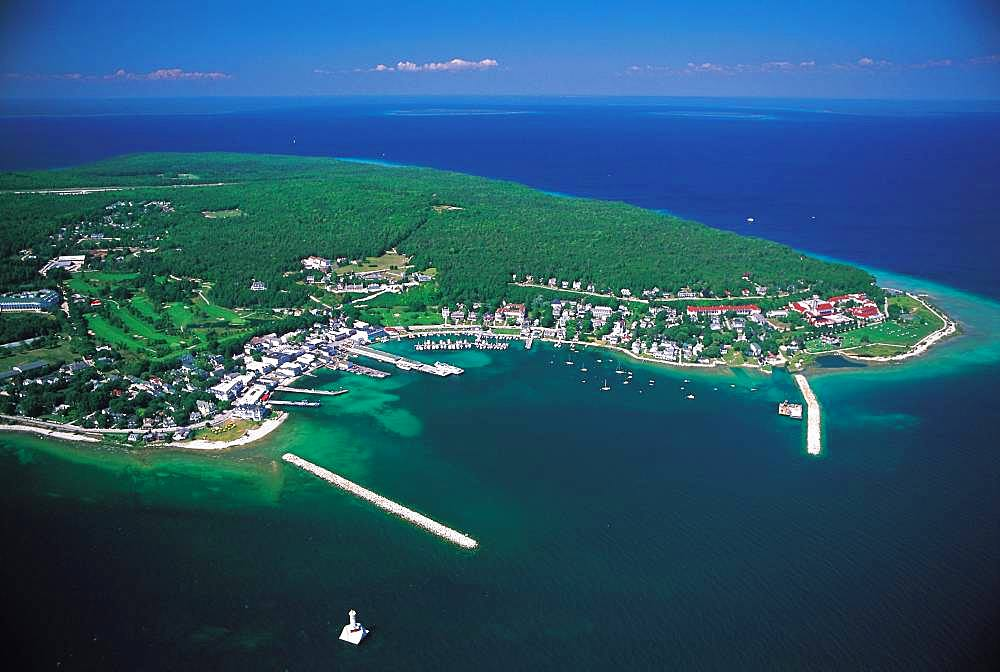 Blue skky over Mackinac island in Michigan, USA