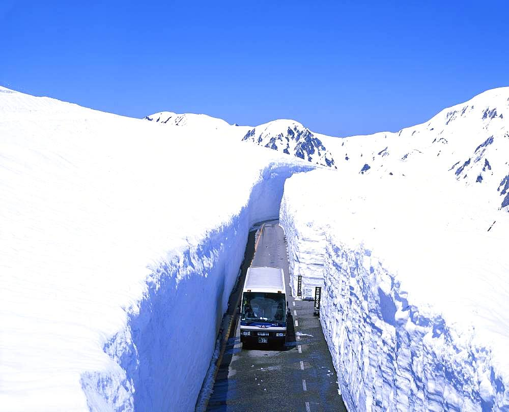 Road through snow, Toyama, Japan
