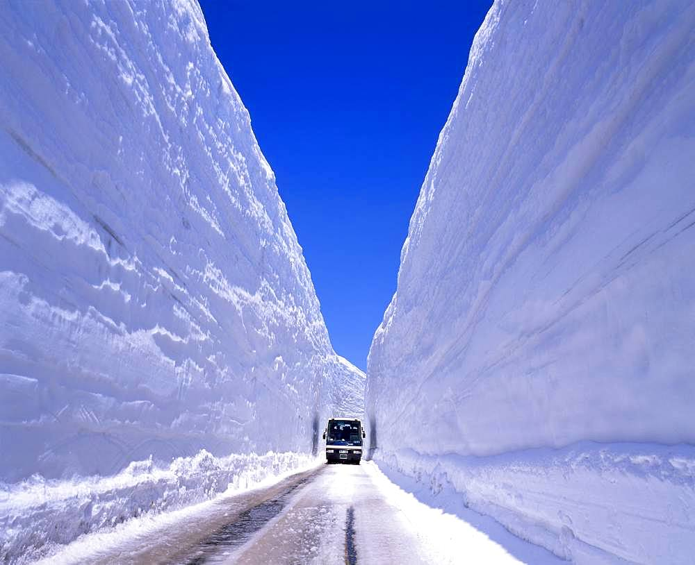 Vehicle on Snowy Road, Toyama, Japan