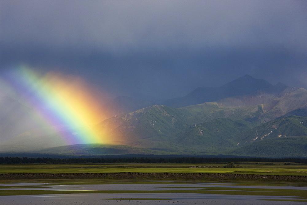 Rainbow over the steppe, Mongolia, Mongolia