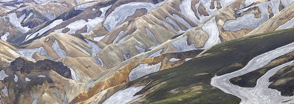 An aerial view of the Landmannalaugar Mountains in Iceland. Rhyolite mountains and expansive lava fields, Landmannalaugar Mountains, Iceland