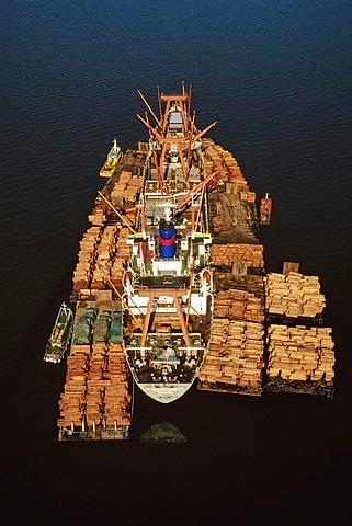 Rainforest lumber loaded on freighter (aerial), Sandakan, Borneo, Sandakan, Borneo