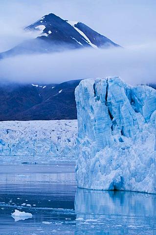 Ice bergs and mountains Monaco Glacier, Svalbard
