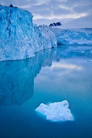 Ice floe and glacier, Monaco Glacier, Svalbard, Norway