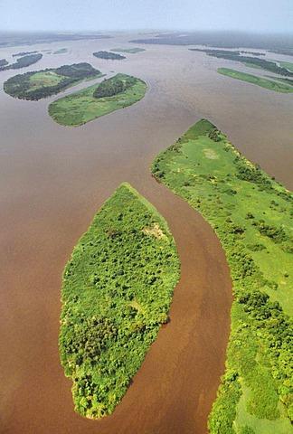 Congo River aerial view, Congo, DRC, Democratic Republic of the Congo