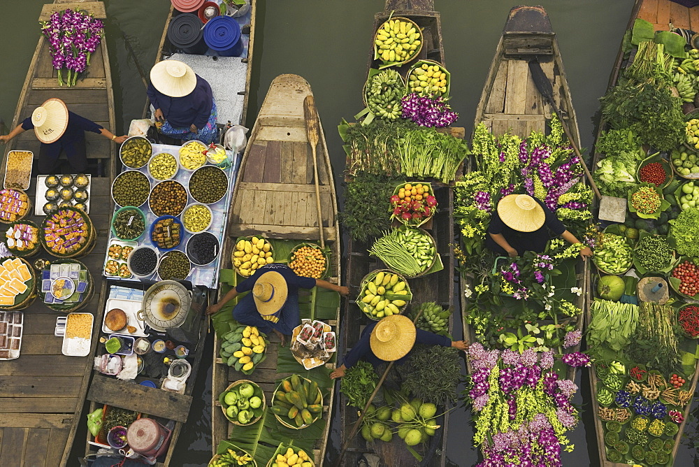 Aerial view of a floating market on a canal in Bangkok, local boats laden with fresh food, moored close together, Bangkok, Thailand,  - 1173-92