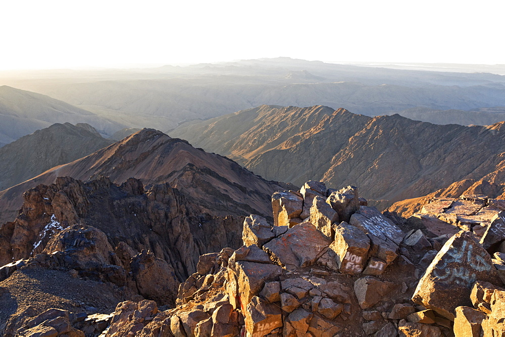 A view from the summit of Mount Toubkal looking over the Atlas Mountains, Morocco