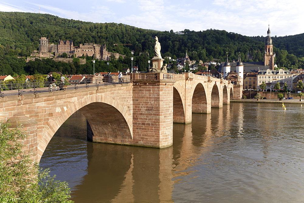 View of Karl-Theodor Bridge and Neckarstadt in Heidelberg, Germany