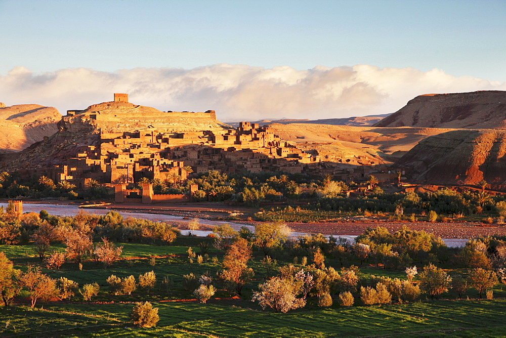 Sunrise over Ait-Ben-Haddou – a traditional clay-built village at the foot of the high Atlas Mountains, Morocco