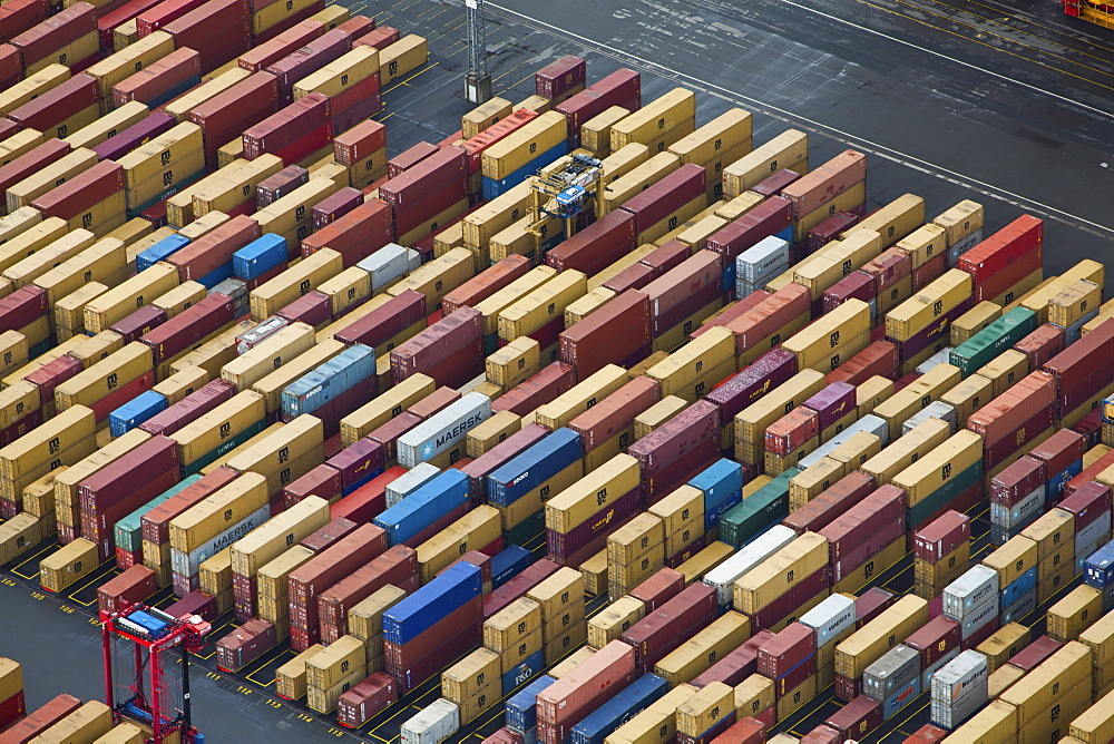 Elevated view of cargo containers at port in Bremerhaven, Bremen, Germany
