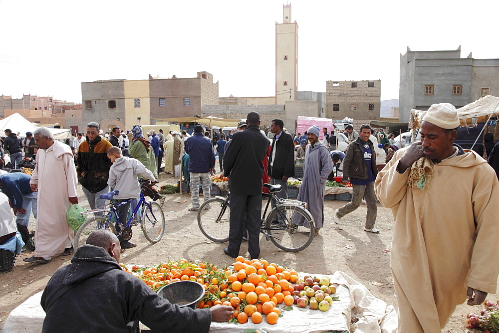 A traditional weekly market held on Saturdays in Nkob, south east of the Atlas Mountains, Morocco