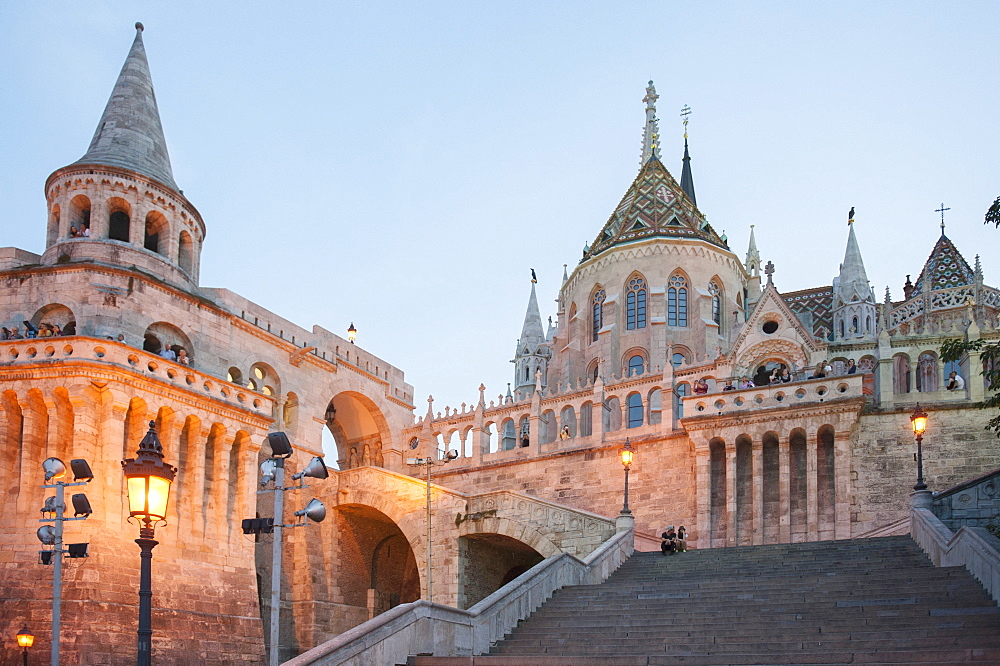 The fishermen's bastion at dusk, constructed between 1895 and 1902 in the neo-romantic style, Budapest, Hungary