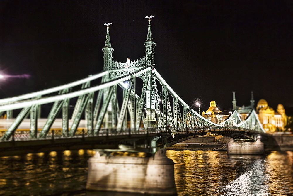 The Liberty Bridge with Turuls on the masts, Budapest, Hungary