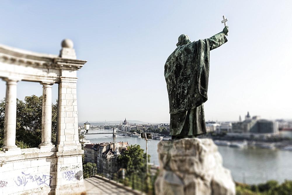Gellért monument above the Elisabeth Bridge, Budapest, Hungary