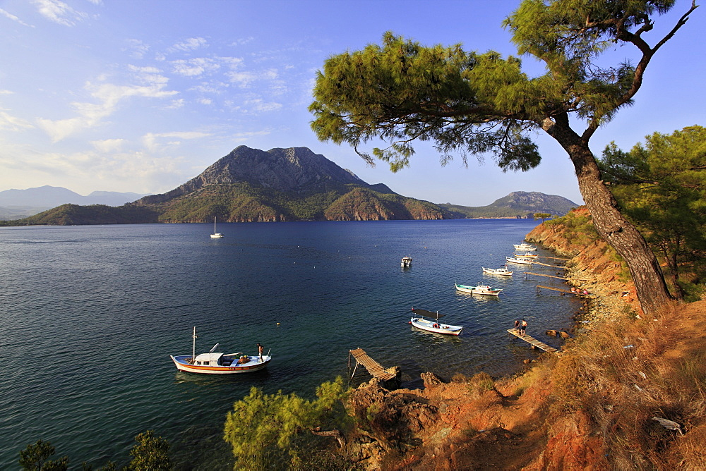 View of pine trees and boats on coats of Adrasan Bay, Kemer, Turkey