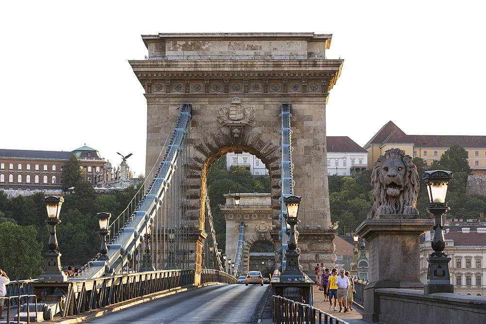 The Chain Bridge with lion statue, Budapest, Hungary