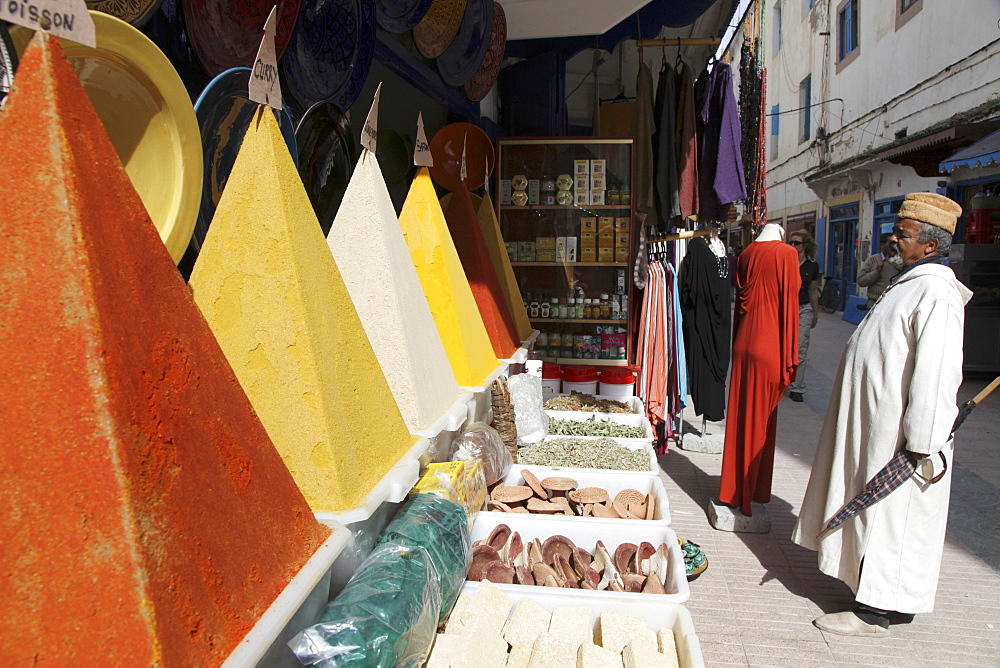 Pyramids of spices in the Souk of the old town of the former Portuguese colony, Essaouira, Morocco
