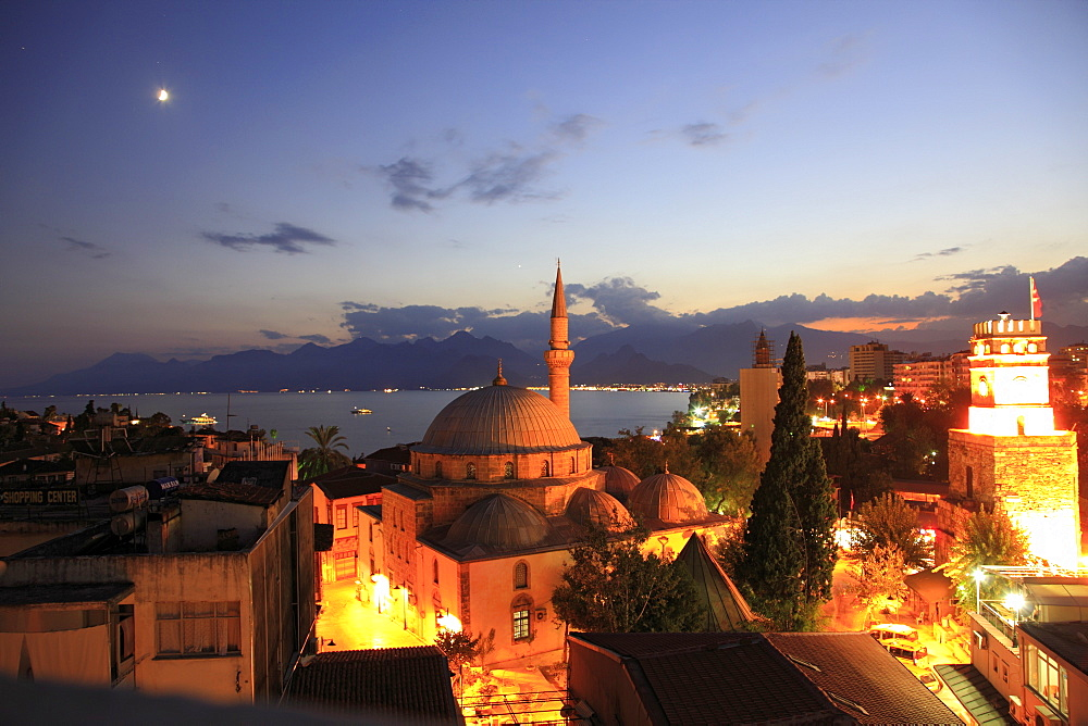 View of illuminated Tekeli Mehmet Pasa Mosque in Antalya, Turkey