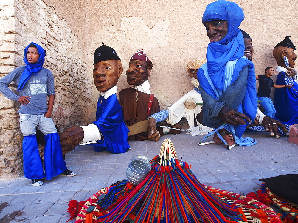Stock photo of carnival figures at Morocco's Gnaoua Festival