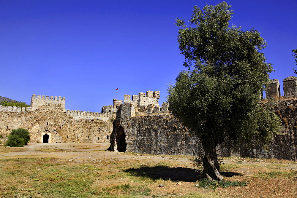 Courtyard of ruined Mamure Castle in Anamur, Antalya, Turkey