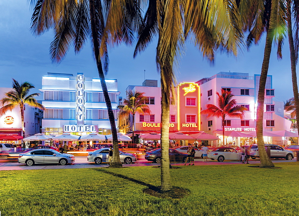 Art Deco District in South Beach, Miami, Florida, USA