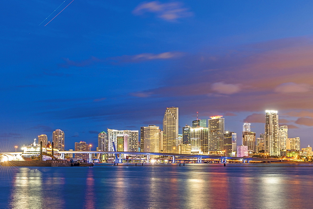 The skyline of Miami at night, Florida, USA