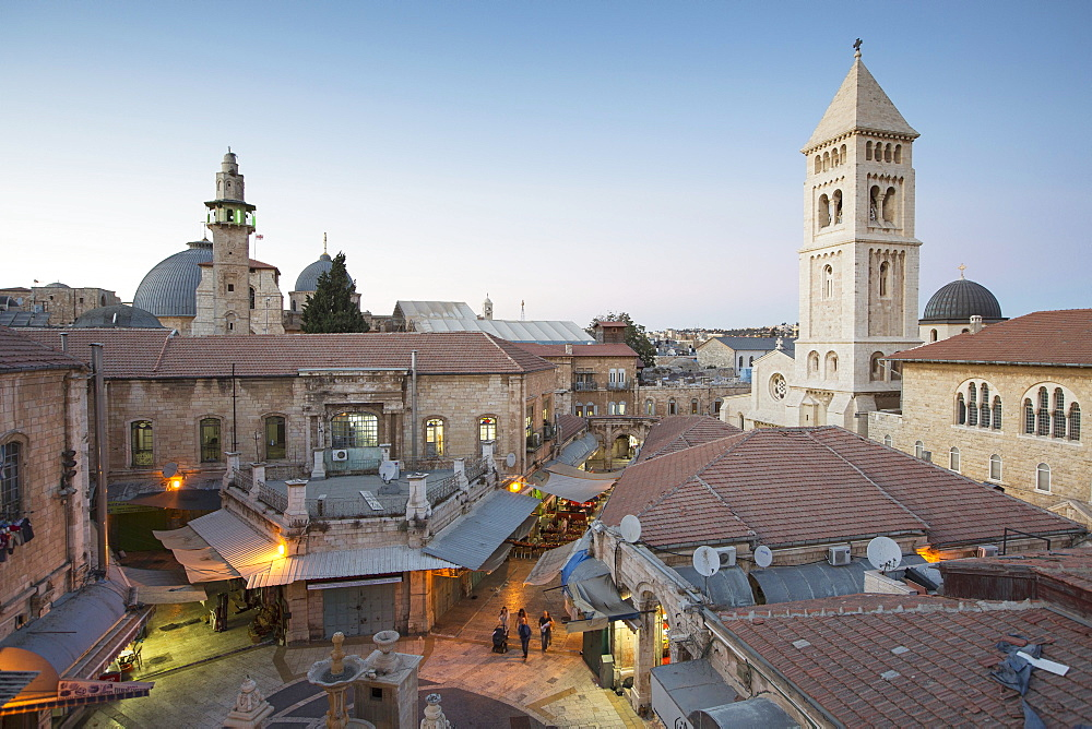 A view of the Church of the Redeemer and the Church of the Holy Sepulchre in the Christian quarter, Jerusalem, Israel - 1175-1335