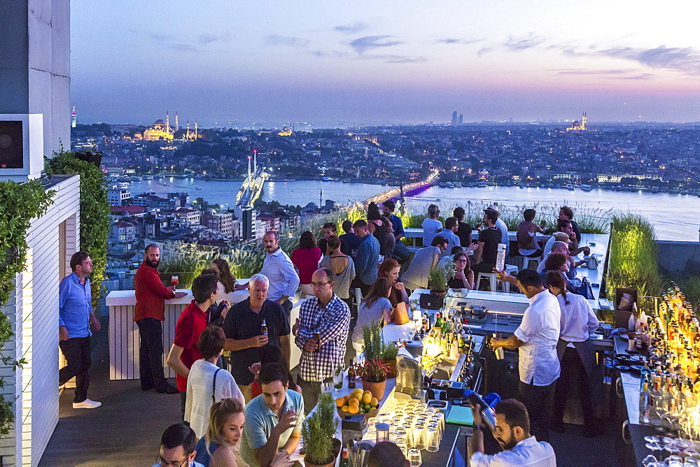 A hotel terrace with a view over Istanbul, Turkey