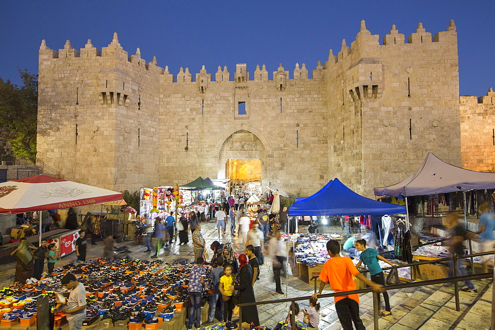 Souk outside the Damascus Gate during the Sacrifice Festival, Muslim quarter, Jerusalem, Israel