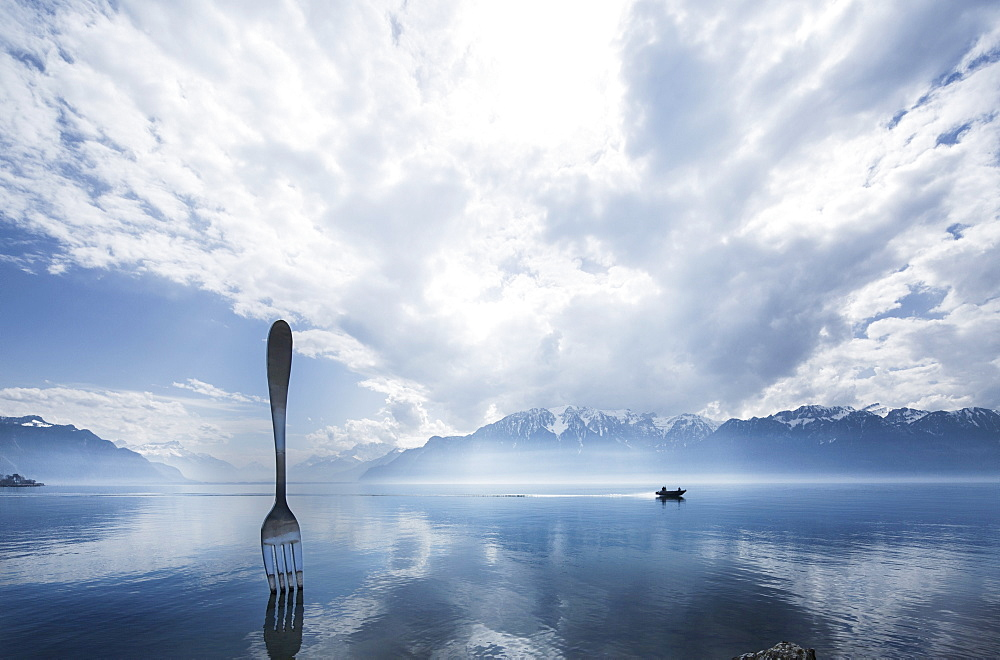 A giant fork on the bank at Vevey, Lake Geneva, Switzerland