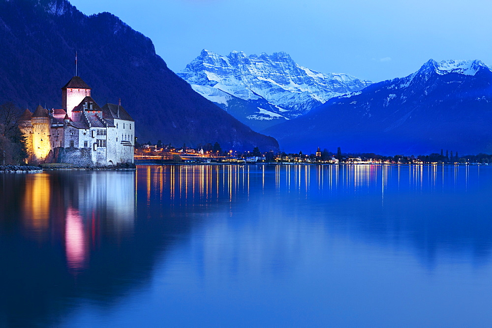 Lake Geneva with a view of Montreux and Chillon Castle, Switzerland - 1175-1355