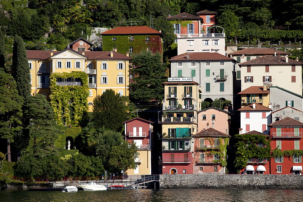 View of former fishing village of Varenna, Lake Como, Italy