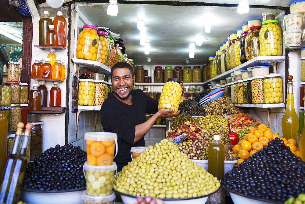 A suk in the medina, olives and preserved fruit, Marrakesh, Morocco