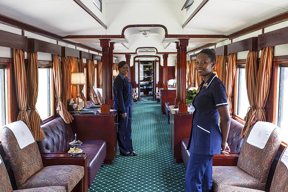 A lounge areas in the luxury train Rovos Rail (journey from Durban to Pretoria, South Africa) - 1175-1390