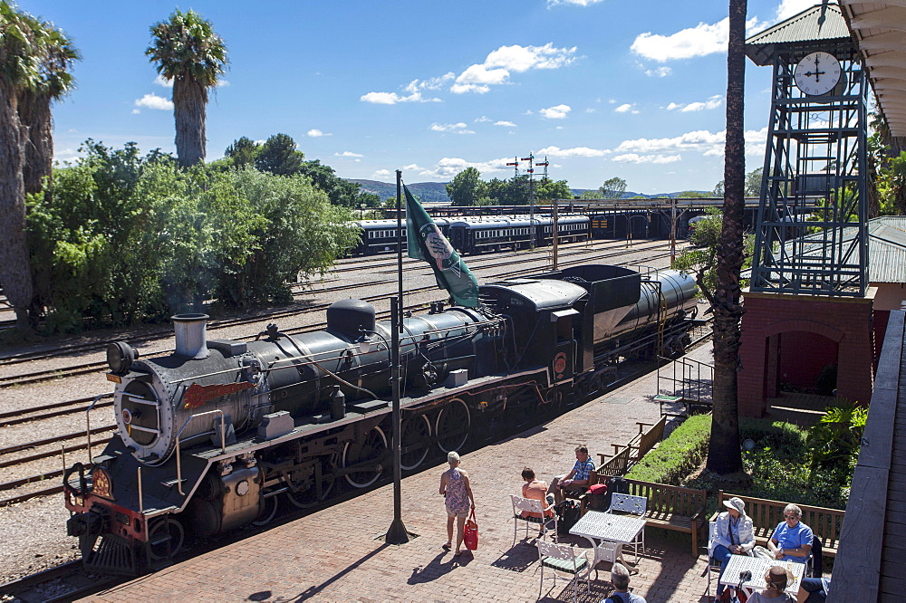 A historic steam engine (Rovos) in the station in Pretoria (South Africa)