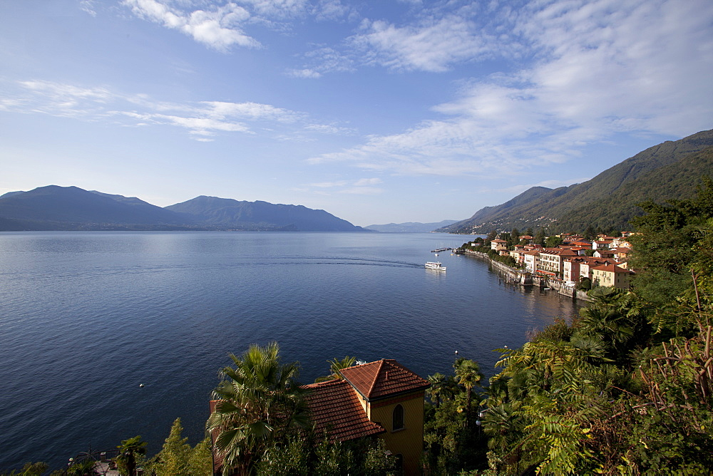 View of houses on Cannero coast in Lago Maggiore, Italy