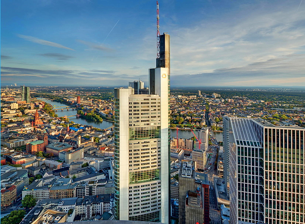 A view of the Commerzbank tower, Frankfurt am Main, Germany