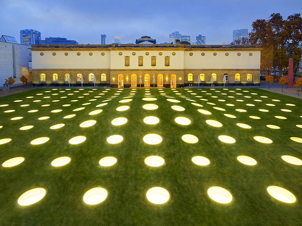 The illuminated garden of the Museum Städel, Frankfurt am Main, Germany
