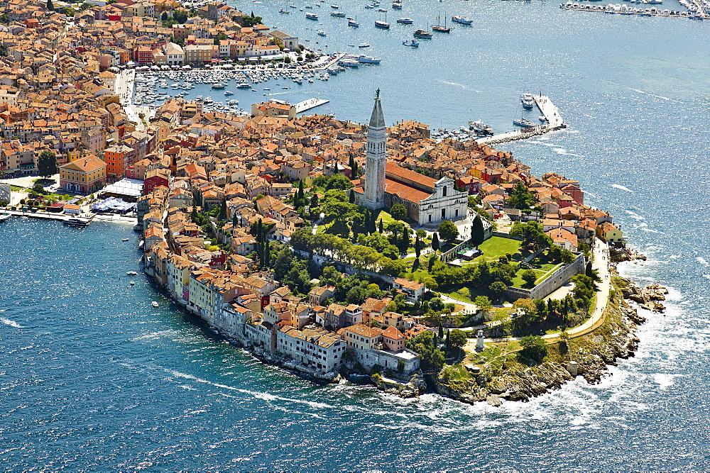 View of Rovinj sea port, Croatia, Aerial View
